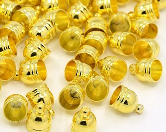 10 brass cord ends gold 13 x 10 mm