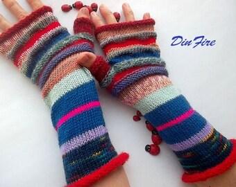 Women L 20% OFF Knitted Bohemian Gloves Boho Fingerless Multicolor Striped Warm Accessories Feminine Wrist Warmers Winter Arm Romantic 1070