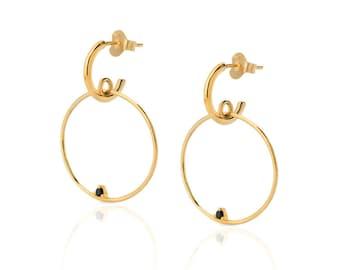 Minimal Large double Circle,  Stud circle Earrings, Stud circle earrings, Outline Circle Ear, Frontal Hoop Earrings