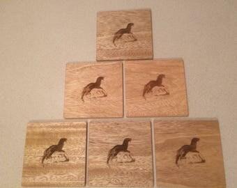 Otter on a Rock Wood Coasters, Wildlife Coasters, Wood Coaster, Set of 6 coasters.