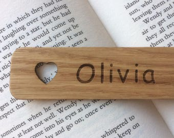 Personalised  Oak Hand Finished Bookmark, with Star or Heart.