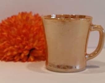 Fire King Peach Lustre D Handle Coffee Mug - Vintage Mug - Vintage Coffee
