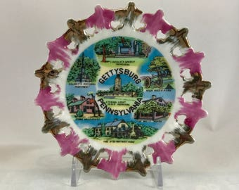 Gettysburg Crocheted Collectible Wall Plate/Vintage Gettysberg Collectible Wall Plate/Gettysburg Souvenir Wall Plate