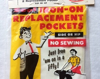 """Vintage New Iron On Replacement Side or Hip Pockets White Package of 2 by Drezo 6"""" wide each"""