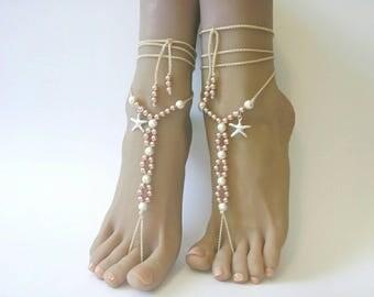 SALE 20% OFF, Barefoot sandals, beach wedding, destination wedding, foot jewelry,starfish jewelry,Bridal barefoot sandals