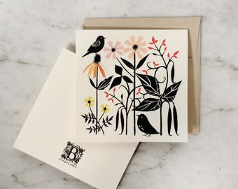 """Whimsical Garden   """"Jack's Scarlet Beans"""" Single Blank Greeting Card, Square Card"""