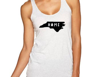 Home North Carolina Tank Top, Women's Graphic Racer back Tank, Home State Shirt, White