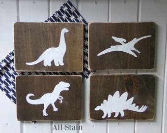 Dinosaur Wood Sign Set, Dinosaur Decor, Boys DInosaur Bedroom Decor, Dinosaur Sign, Dinosaur Wall Art, Baby Boy Nursery, Dinosaur Wood Signs