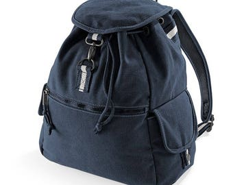 blue canvas fabric backpack