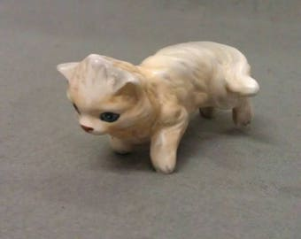 Beige and Tan Cat with Curled Tail Walking Cat Figurine