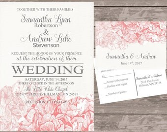 Hydrangea Wedding Invitations, floral wedding stationery, coral hydrangea wedding invitations, budget wedding stationery