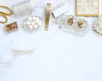 Website branding, desktop, white, chic, elegant, office supplies, gold, styled stock photography, styled stock, flat lay, website, blog,