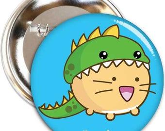 Dinocat Badge Fuzzballs Cat Kitten 45mm Button Kawaii Cute Japanese Adorable Gift Idea Metal Pin Present Cuteness Overload Set
