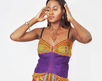 Collette Purple Angelina African Wax Trumpet Skirt and Bustier, Long Dashiki Maxi Skirt - Made to Order