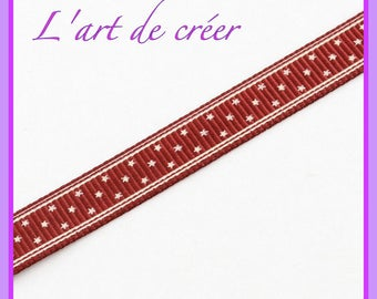 1 m of Red Ribbon with white stars 9 mm grosgrain - red white