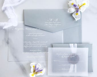 Vellum Wedding Invitation, Vellum Invitation, White Ink Vellum Invitation,  Elegant Vellum Invitation,