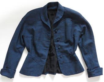 "Vintage 40s-50s Blue & Black Wool Dress Suit Jacket S— 28"" waist"