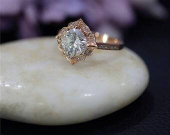 Art Deco Engegement Ring 7mm Cushion Forever One Moissanite Wedding Ring Solid 14K Rose Gold Wedding Ring Promise Ring Anniversary Ring