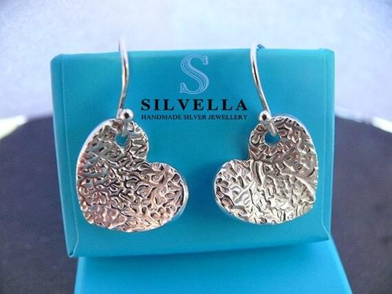 Textured Vine Silver Earrings - Silver Handmade Dangle Earrings - Handmade in Wales - Gift For Her