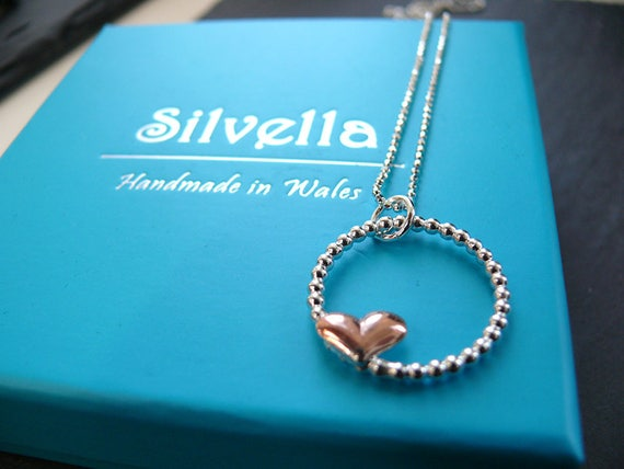 Sterling Silver & Copper Heart Pendant - Mixed Metal Necklace -Handmade in Wales -
