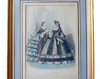 French Antique Framed Paris Fashion Engraving by François Claudius Compte-Calix Drawing - Fashion Wall Art - Victorian Parisian Fashion
