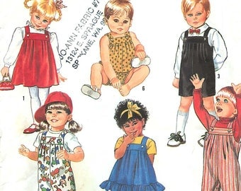 Simplicity Essentials 7017 Sewing Pattern for Toddler Overalls, Sundress, Jumper & Bubble Suit, Sizes 1/2-3