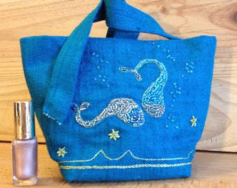 Blue silk jewelry bag embroidered with two fish. Valentines Day gift idea.