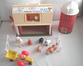 Vintage 1968 Fisher Price Family Play Farm Set with tractor and original wooden farmer