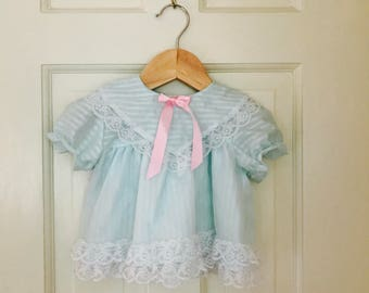 Vintage Baby Clothes Size 6-9 Months, Vintage Baby Girls Dress, Baby Dresses, Baby Dress Lace and Ruffles, Vintage Baby Dress Light Blue