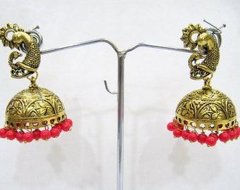 Traditional Jhumka Jhumki Jewelry , Fashion Designer Golden Oxidized Earrings , Ethnic Jewelry Drop Chandelier , Gold Tone Indian Earrings.