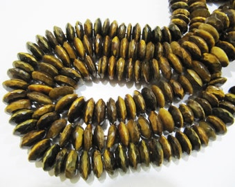 AAA Quality Natural Tiger Eye German Cut, Rondelle Faceted Beads , 9 to 13mm Graduated Disc Shape Beads , Strand 8 Inches Long