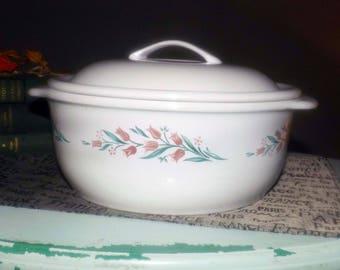 Vintage (c.1995) Corelle   Corning   Corningware Rosemarie covered, handled 2.5 qt casserole. Pink tulips, greenery. Coordinates stoneware.