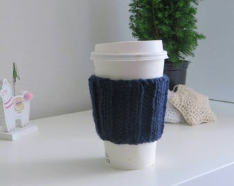 Navy Blue Coffee Cup Sleeve | Hand Knit Cup Cosy | Fits Starbucks Cup | Gifts For Her | Stocking Fillers | Tea Cosy | Knit Coffee Cosy