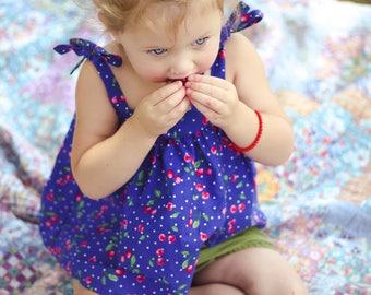 Cherry Baby Girl Top - Blue Summer Shirt - Red Cherry Baby Top - Cherry Baby Girl Clothes - Baby Girl Tank Top - Baby Girl Crop Top