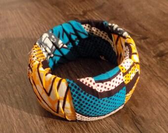 Bracelet wax blue/black/yellow/grey fabric