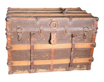 Vintage STEAMER TRUNK Storage Chest Train Luggage Antique Flat Top Wood Toy  Box Coffee Table Base