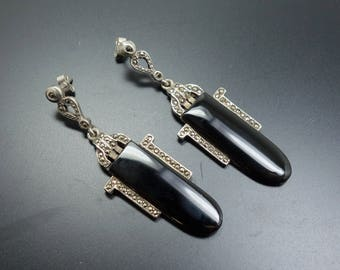 Art Deco Earrings Sterling Silver 925 Onyx Marcasite Dangle Drop Earrings