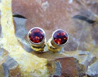 4mm Bezel set Birthstone earrings, sterling silver, white yellow 14k 4mm zircon citrine opal diamond emerald garnet aquamarine ruby sapphire