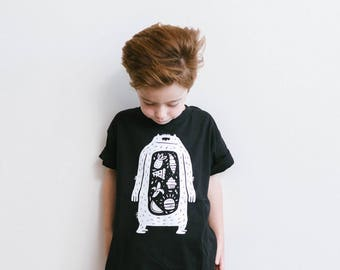 Glow-in-the-Dark Unisex Kids TShirt, Monster Kids TShirt, Kids Tee, Kids Black TShirt