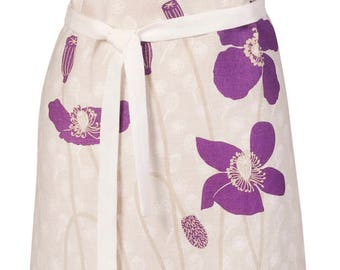 Purple Poppies Linen Apron, European Linen, Adjustable Women's Apron, Birthday, Mothers Day, Linen Aprons,