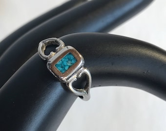 Vintage Turquoise Sterling Silver Ring Size 4.5