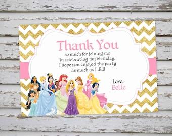Disney Princess Thank You card, Princess Thank You note,  Princess Birthday Party, Princesses Thanks, Princess Sparkly Glitter PRINTABLE