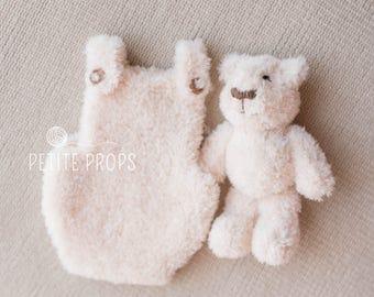 Romper and Teddy set, Knitted Teddy, Photography prop, Cream teddy, Beige Teddy, Grey Teddy