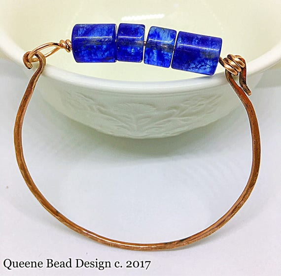 Blueberry Quartz and Copper Bracelet Bangle #queenebead