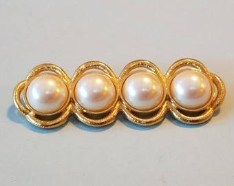 vintage monet goldtone brooch with pearls, monet, vintage monet brooch