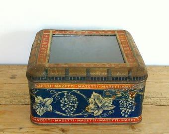 Vintage shop display tin glass top.Chocolate cookie tin Swedish.Tin glass Storage container.Farmhouse Country kitchen.Office desk storage