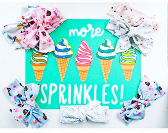 Headbands Tie Headwraps in Ice Cream & Sprinkles