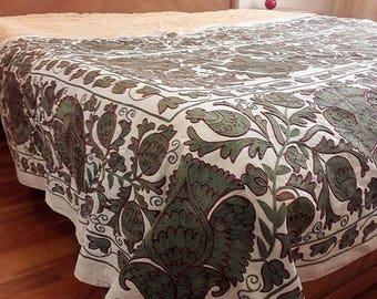 An Extraordinary Work-of-Art Handmade Suzani from Uzbekistan. Tablecloth, Wall hanging, Bedspread, Bedcover.
