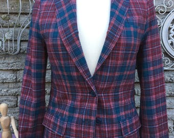 Vintage 1970's Plaid Wool Blazer * Pendleton * Small