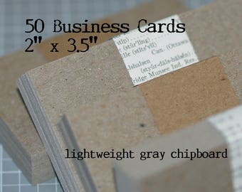 """Gray Business Card Blanks (50) - Lightweight Grey Chipboard Cards Seller Supplies 2"""" x 3.5"""" Blank Cards DIY Business Cards Recycled Stock"""